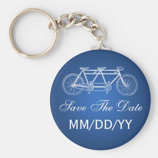 Wedding Save The Date Tandem Bike Blue Keychain