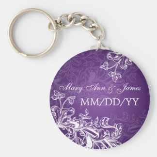 Wedding Save The Date Vintage Swirls Purple Key Ring