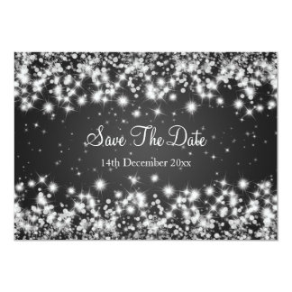Wedding Save The Date Winter Sparkle Black 13 Cm X 18 Cm Invitation Card