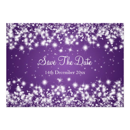 Wedding Save The Date Winter Sparkle Purple Personalized Invitation