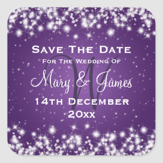 Wedding Save The Date Winter Sparkle Purple Square Sticker