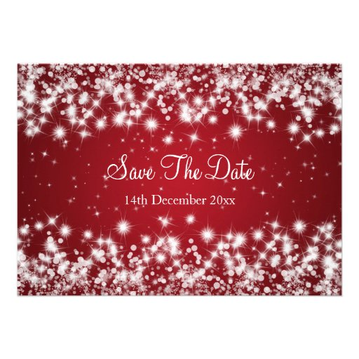 Wedding Save The Date Winter Sparkle Red Invitations