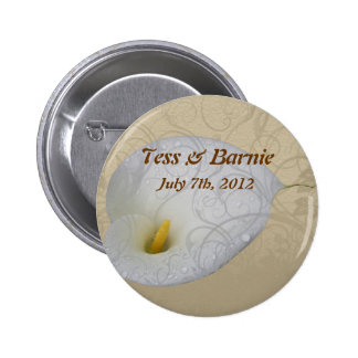 Wedding Save the Date with Dew drop White Lily Pinback Button