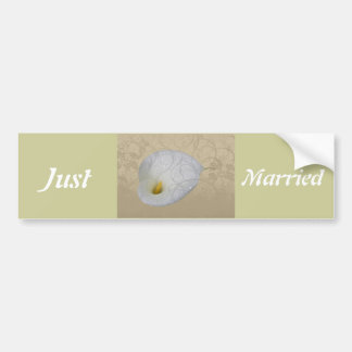 Wedding Save the Date with Dew drop White Lily Bumper Sticker