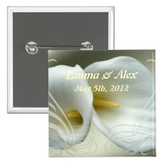 Wedding Save the Date with White Lilies Design Buttons