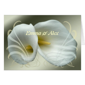 Wedding Save the Date with White Lilies Design Greeting Card