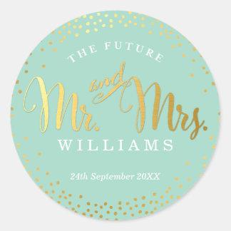WEDDING SEAL stylish mini gold confetti mint Round Sticker