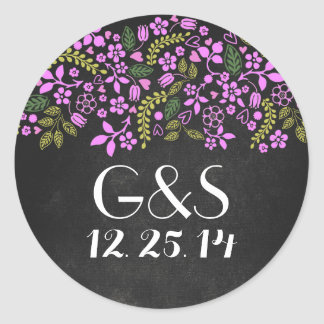 wedding seal with rustic floral chalkboard round sticker