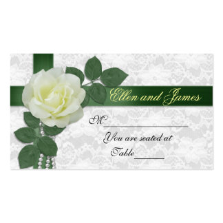 Wedding seating card white rose green ribbon business cards