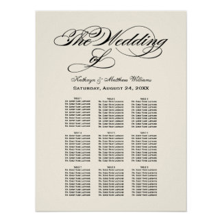 Wedding Seating Chart | Black Calligraphy Poster