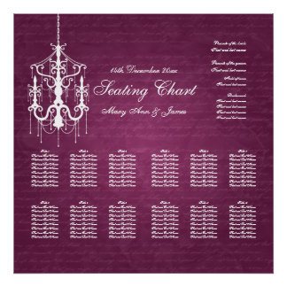 Wedding Seating Chart Chandelier Berry Pink Poster