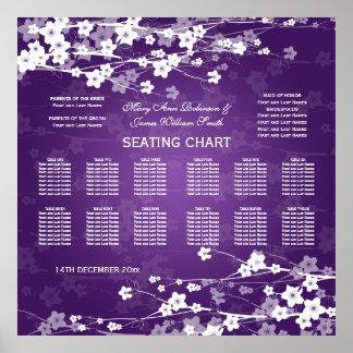 Wedding Seating Chart Cherry Blossom Purple Poster