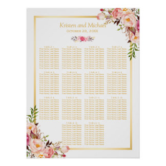 Wedding Seating Chart Classy Chic Floral Gold Poster