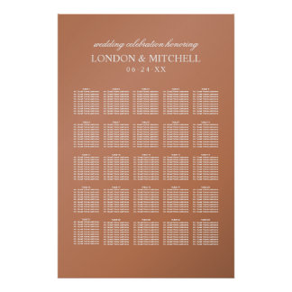 Wedding Seating Chart | Copper Classic Elegance