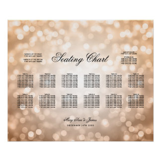 Wedding Seating Chart Copper Glitter Lights