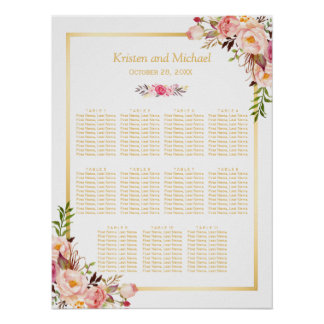 Wedding Seating Chart Elegant Chic Floral Gold