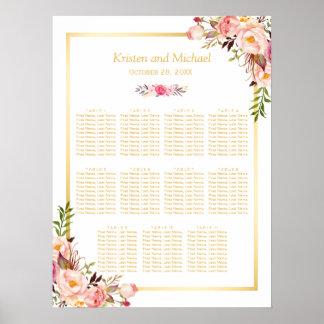 Wedding Seating Chart Elegant Chic Floral Gold