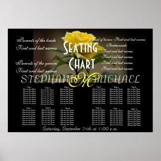 Wedding Seating Chart Flower Blossom Monogram Name