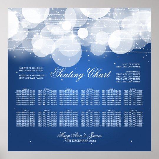Wedding Seating Chart Glow & Sparkle Blue