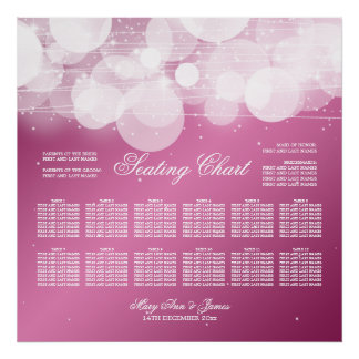Wedding Seating Chart Glow & Sparkle Pink Poster