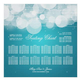 Wedding Seating Chart Glow & Sparkle Turquoise