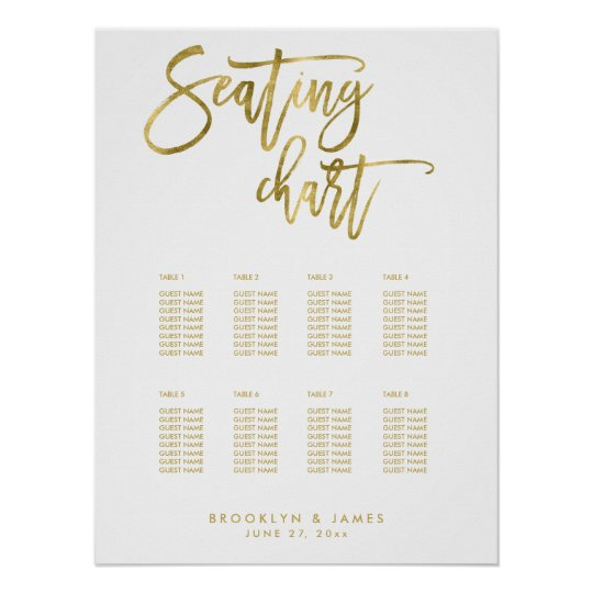 Wedding Seating Chart Gold Foil Effect 18x24 Poster