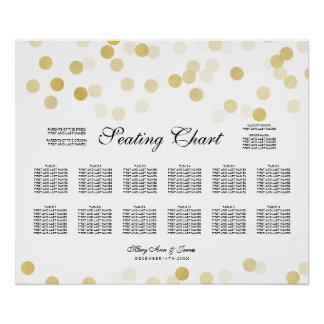 Wedding Seating Chart Gold Foil Glitter Lights