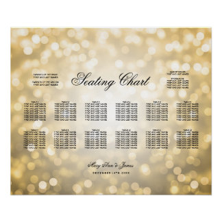 Wedding Seating Chart Gold Glitter Lights