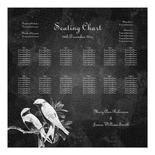 Wedding Seating Chart Love Birds Black