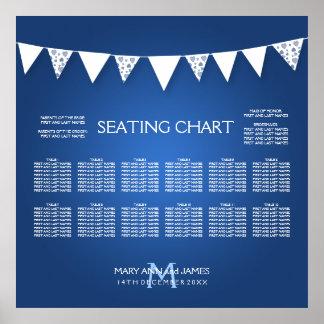 Wedding Seating Chart  Love Bunting Monogram Blue Poster