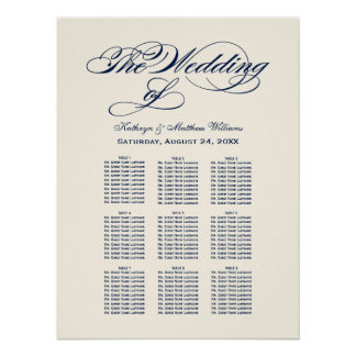 Wedding Seating Chart | Midnight Blue Calligraphy Poster