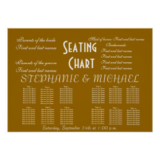 Wedding Seating Chart Names Bride Groom Poster