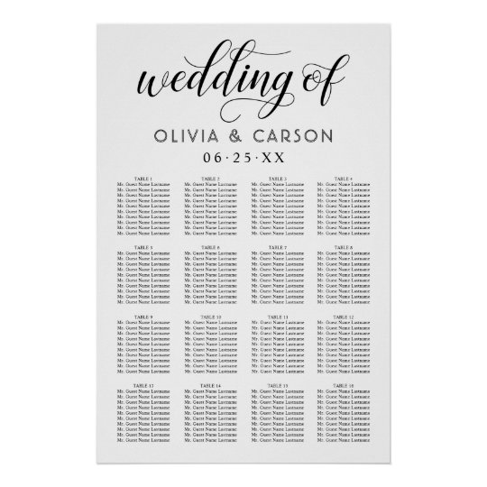 Wedding Seating Chart Poster | Black and White