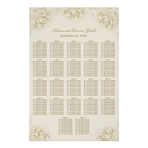 Wedding Seating Chart Poster | Floral Peony Design Print