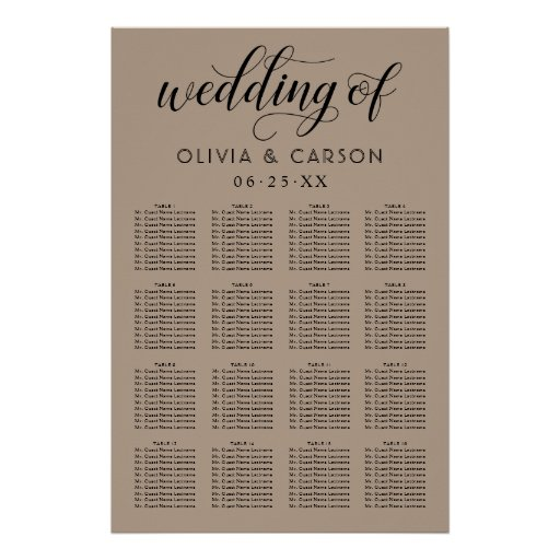 Wedding Seating Chart Poster | Kraft