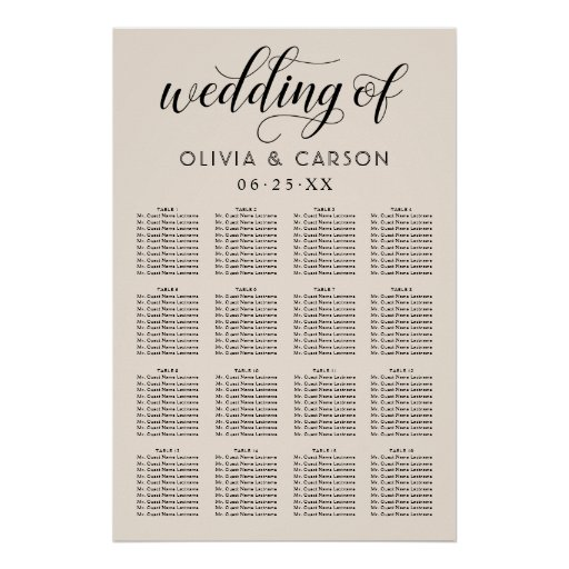 Wedding Seating Chart Poster | Warm White