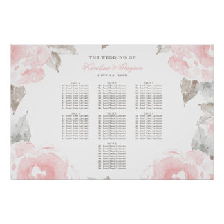 Wedding Seating Chart Poster | Watercolor Roses