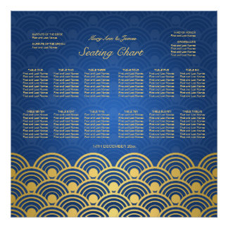 Wedding Seating Chart Scalloped Blue Gold Poster