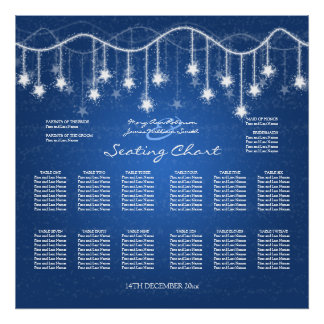 Wedding Seating Chart Shimmering Stars Blue 2 Poster