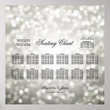 Wedding Seating Chart Silver Glitter Lights
