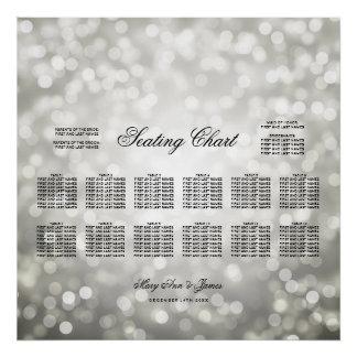 Wedding Seating Chart Silver Glitter Lights Poster