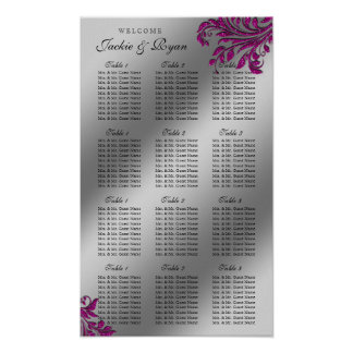 Wedding Seating Chart Silver Pink Leaves Sparkle Poster