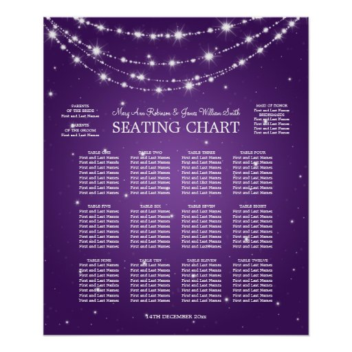 Wedding Seating Chart Sparkling Chain Purple Posters
