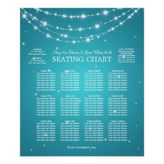 Wedding Seating Chart Sparkling Chain Turquoise Poster