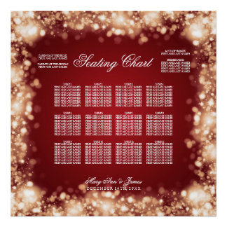 Wedding Seating Chart Sparkling Lights Gold Poster