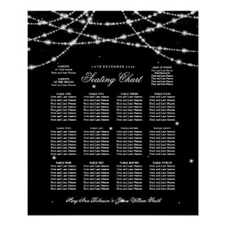 Wedding Seating Chart Sparkling String Black Poster