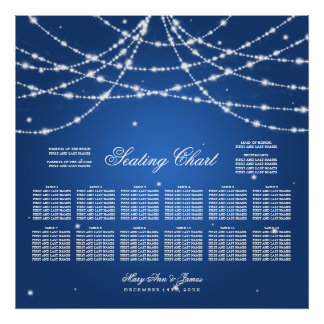 Wedding Seating Chart Sparkling String Blue Poster