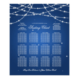 Wedding Seating Chart Sparkling String Blue Poster