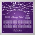 Wedding Seating Chart Sparkling String Purple