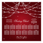 Wedding Seating Chart Sparkling String Red